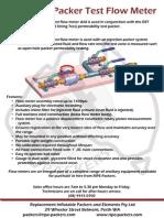Hydraulic Packer Test Flowmeter