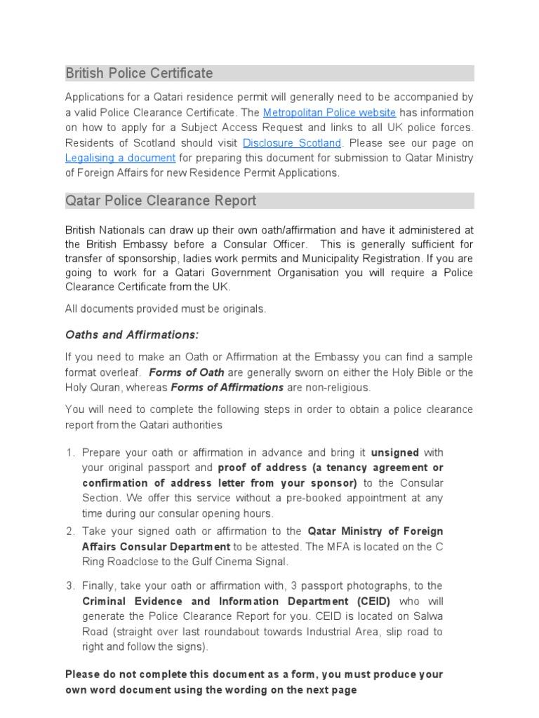 Police clearayjynce procedure qatar passport yadclub Choice Image