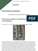 ARACELI SONÍ SOTO. Hermenéutica y literatura. Teoría de la recepción. Fundamentos teóricos y metodológicos