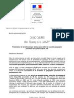 Discours Francois Lamy - Presentation de La Methodologie Retenue Pour Definir La Nouvelle Geographie Prioritaire