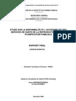 Etude sur la disponibilité et l'accessibilité des services de SR et de la PF – Décembre 2008