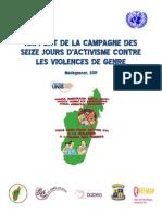 Rapport de la campagne des 16 Jours d'Activisme Contre La Violence de Genre -2011