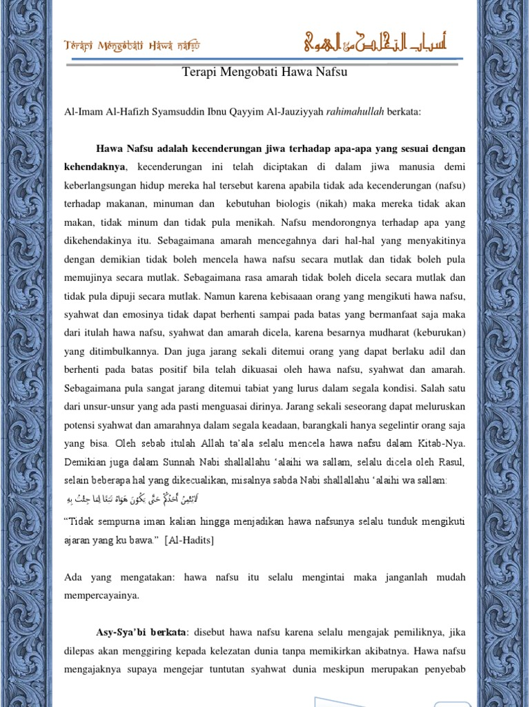 Terapi Mengobati Hawa Nafsu pdf