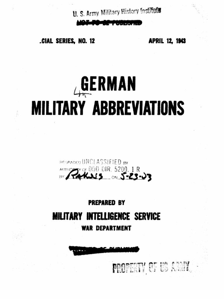Special Series, No. 12, German Military Abbreviations | Artillery ...