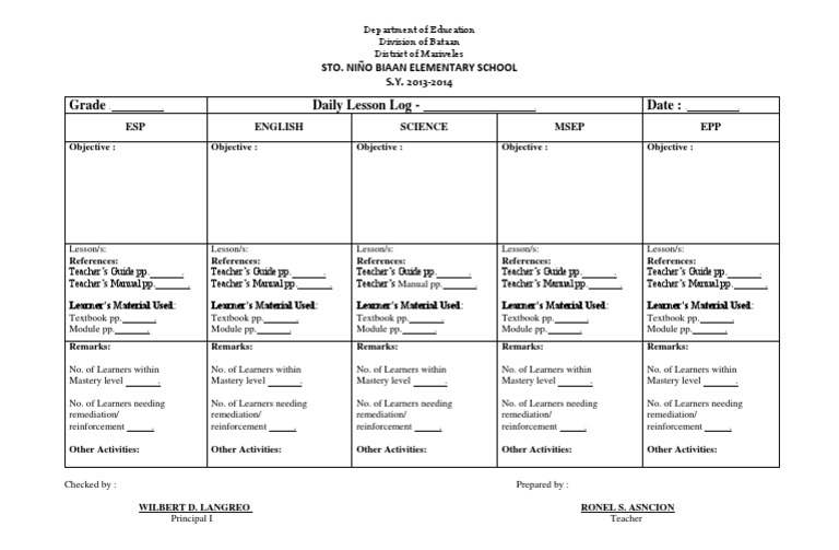 Lesson Plan In Epp Grade 5 K To 12 on K To 12 Curriculum Guide On Mother Tongue For Grade 1