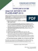 COMUNICADO Nº 076-INSCRIPCIONES PROCES 2013-2-INTERNO