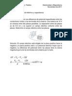 Ejemplos de potencial eléctrico y capacitancia