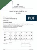 Zgjidhje Matematike Gjimnazi 2013