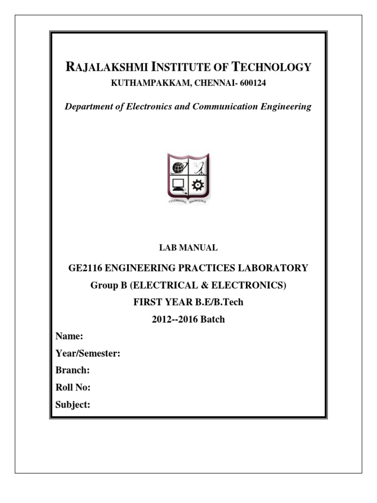 Engineering Practice Lab Manual(Electrical and Electronics) | Inductor |  Passivity (Engineering)