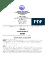 Medford City Council Regular Meeting Agenda June 18, 2013