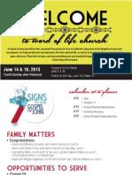 Church Bulletin for June 14 & 16, 2013