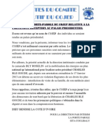 Reaction Du Porte-parole Du Cojep Relative a La Pretendue Reception Au Palais Presidentiel