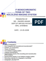 STUDY OF MONOCHROMATIC ABERRATIONS OF TWO HOLOLENS IMAGING SYSTEM