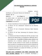 Declaracion de Objecion de Conciencia Al Servicio Militar