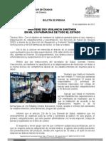 19/09/12 Germán Tenorio Vasconcelos mantiene Sso Vigilancia Sanitaria en Mil 530 Farmacias en Todo El Estado