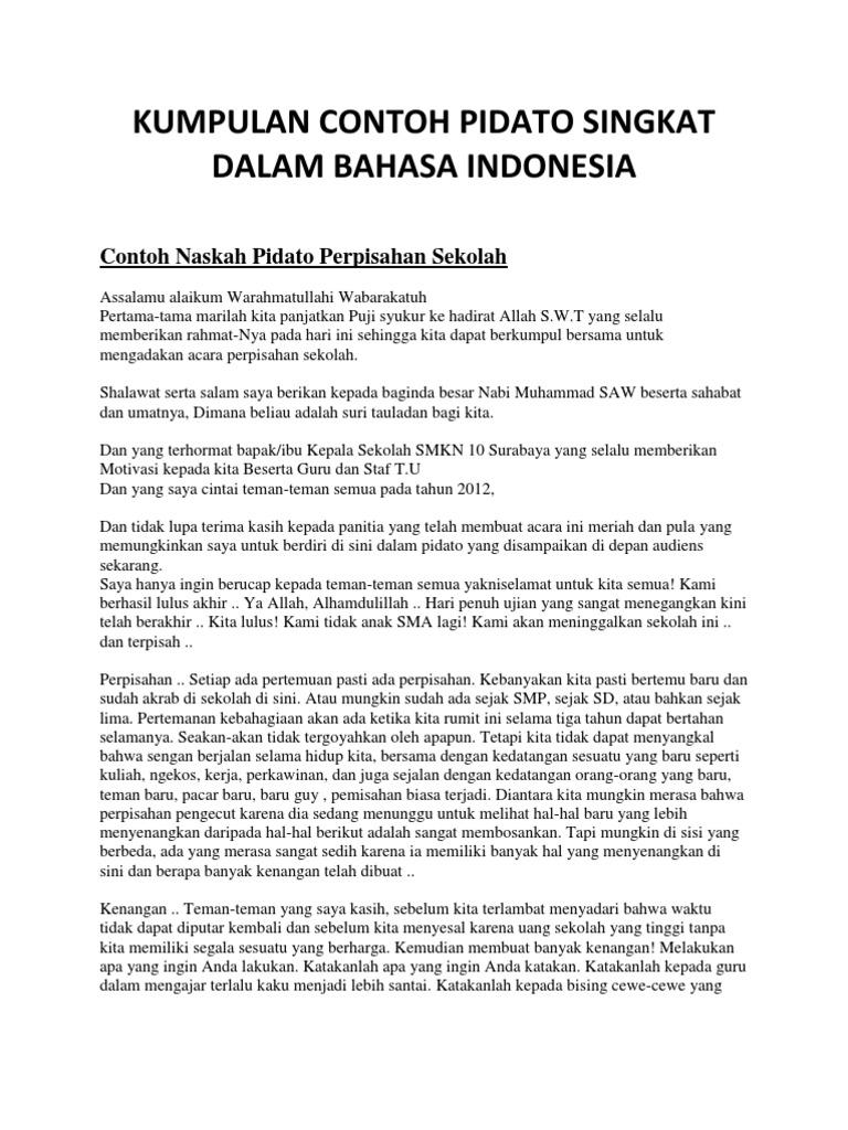 Kumpulan Contoh Pidato Singkat Dalam Bahasa Indonesia