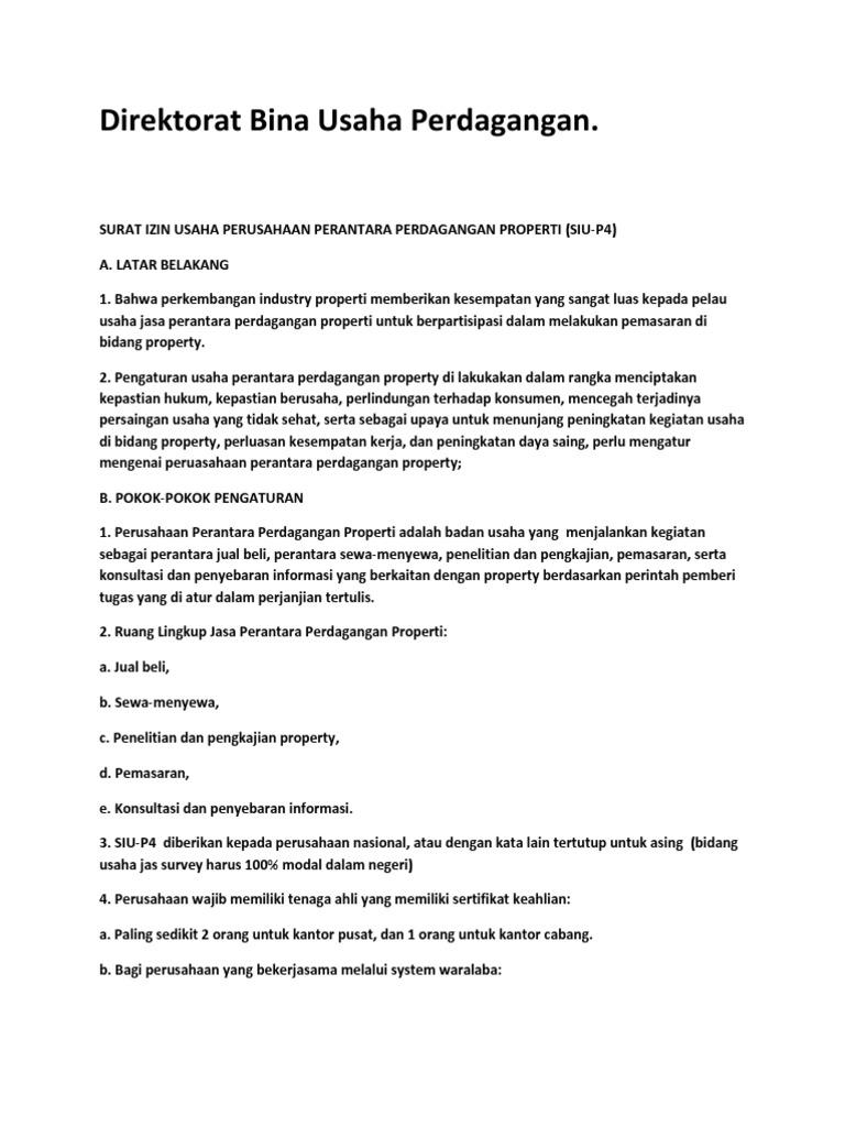 Broker Property – Ketentuan Surat Izin Usaha Perusahaan Perantara Perdagangan Properti (SIU-P4)