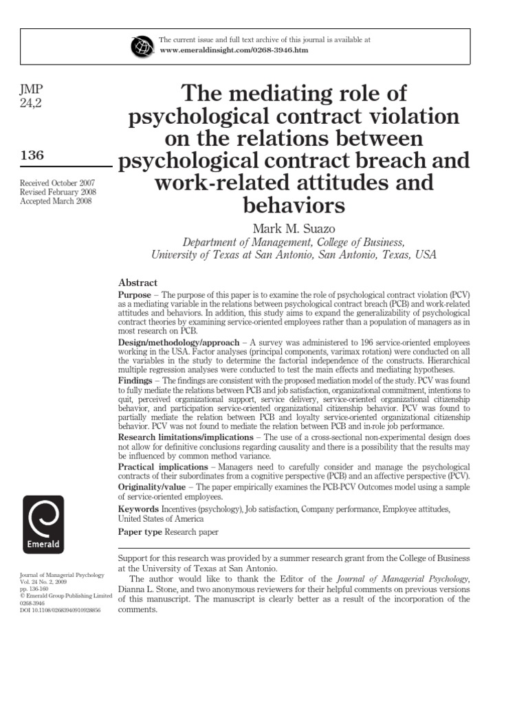 The Mediating Role Of Psychological Contract Violation On The