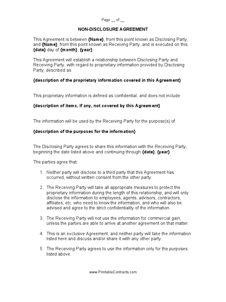 Non Disclosure Agreement 1 Trade Secret Non Disclosure Agreement