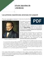 Las primeras experiencias amorosas de Leopardi _ El vuelo de la lechuza (apuntes de Sociofilosofía y Literatura)