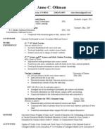 Anne Oltman's Resume