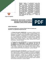 Predictamen de Nueva Ley Universitaria. Comisión de Educación, Juventud y Deporte-CR 03-06-13