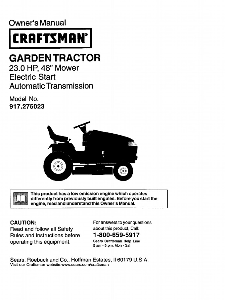 Craftsman GT3000 Owners Manual Tractor Manual Transmission