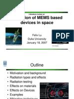 Radiation Hardening of MEMS Based Devices