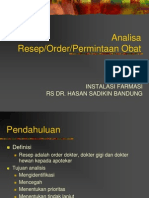 11. Analisa Resep, Order, Permintaan Obat
