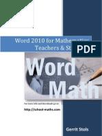Word 2010 for Mathematics Teachers