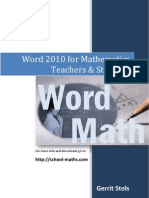 Word 2010 for Mathematics Teachers and Students