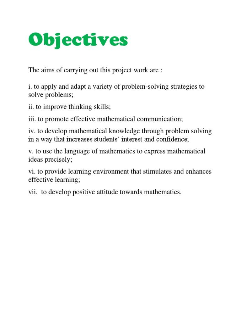 Objective add math project .