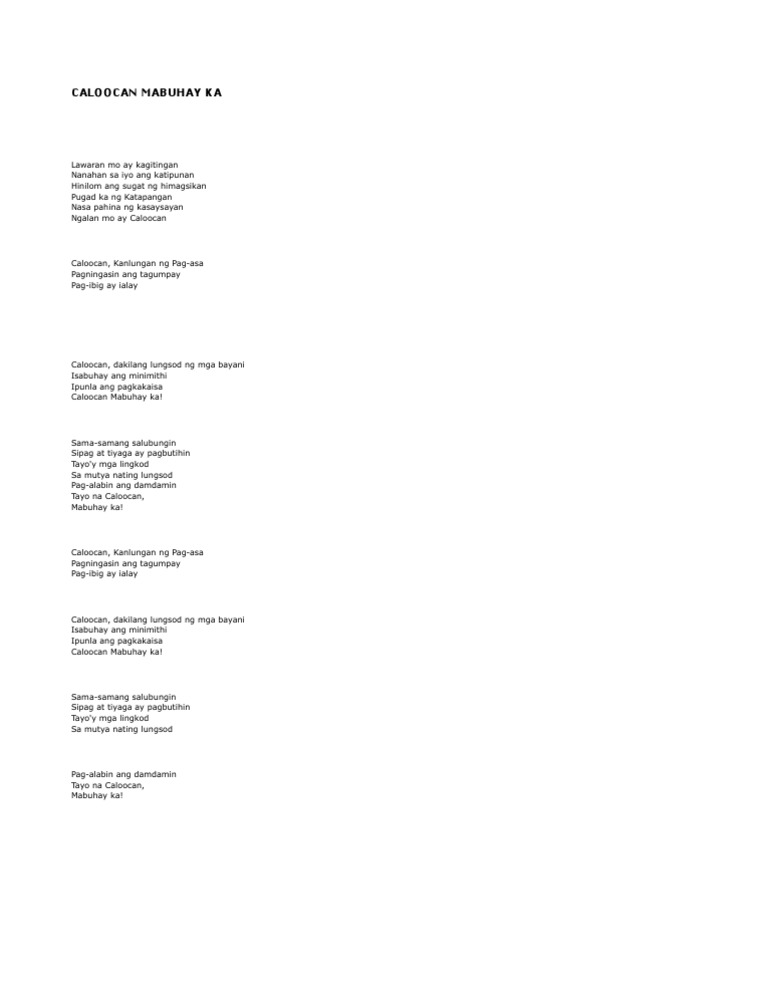 Lyrics mabuhay caloocan songs about mabuhay caloocan ...
