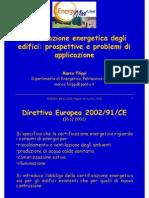 Certificazione Energetica Degli Edifici - Prospettive e Problemi Di Applicazione