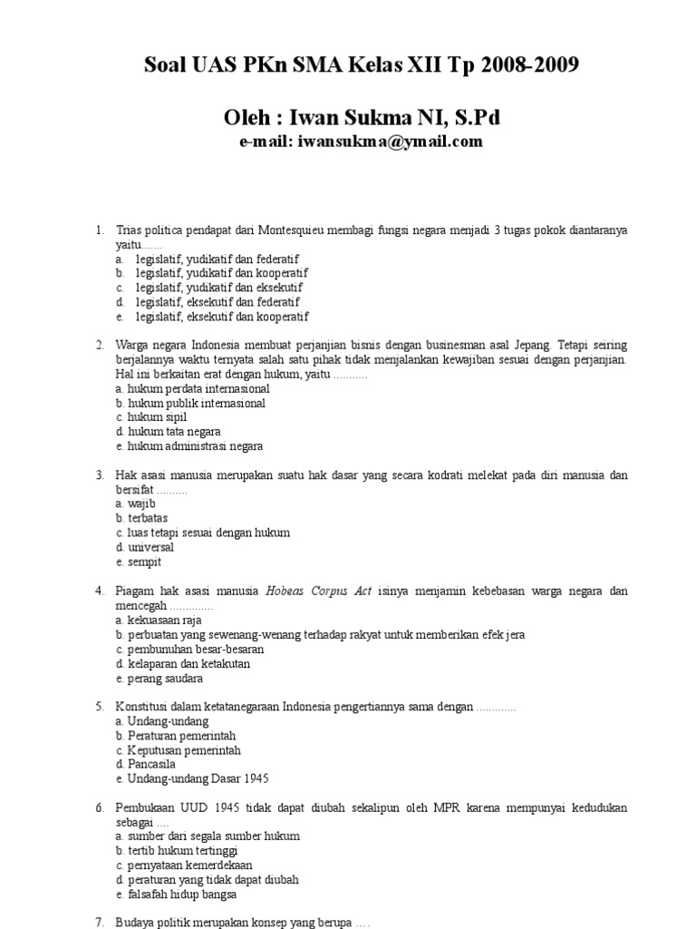 Soal Uas Pkn Sma Kelas Xii 2008 2009 By Iwan Sukma Ni S Pd