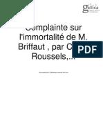 Nerval, Gérard de - Complainte sur l'inmortalité de M. Briffaut