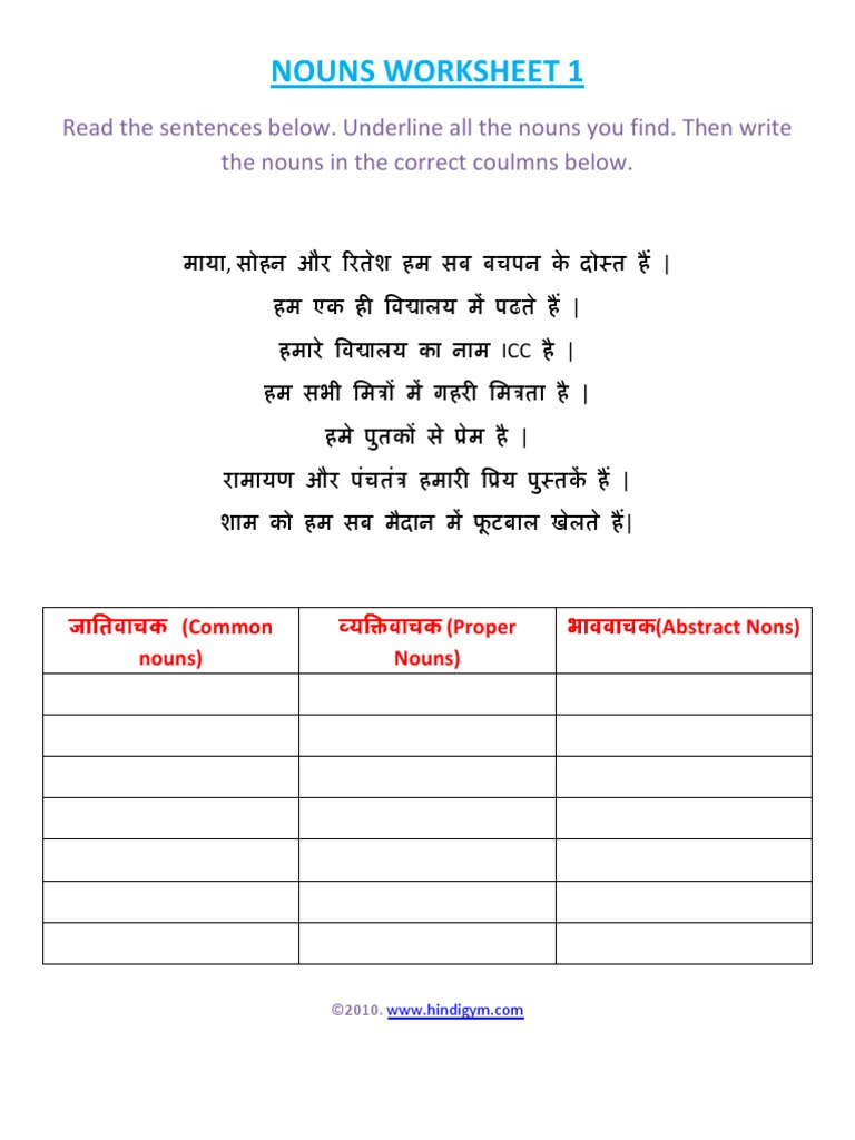 Hindi Nouns Worksheet 1 alphabet worksheets, learning, worksheets, and free worksheets Underline The Nouns Worksheet 2 1024 x 768