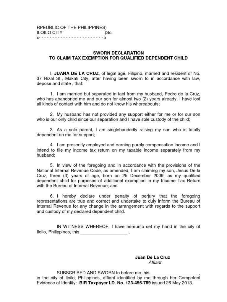Affidavit to claim tax exemption for dependent child bir affidavit to claim tax exemption for dependent child bir exemption for dependent child bir altavistaventures Choice Image