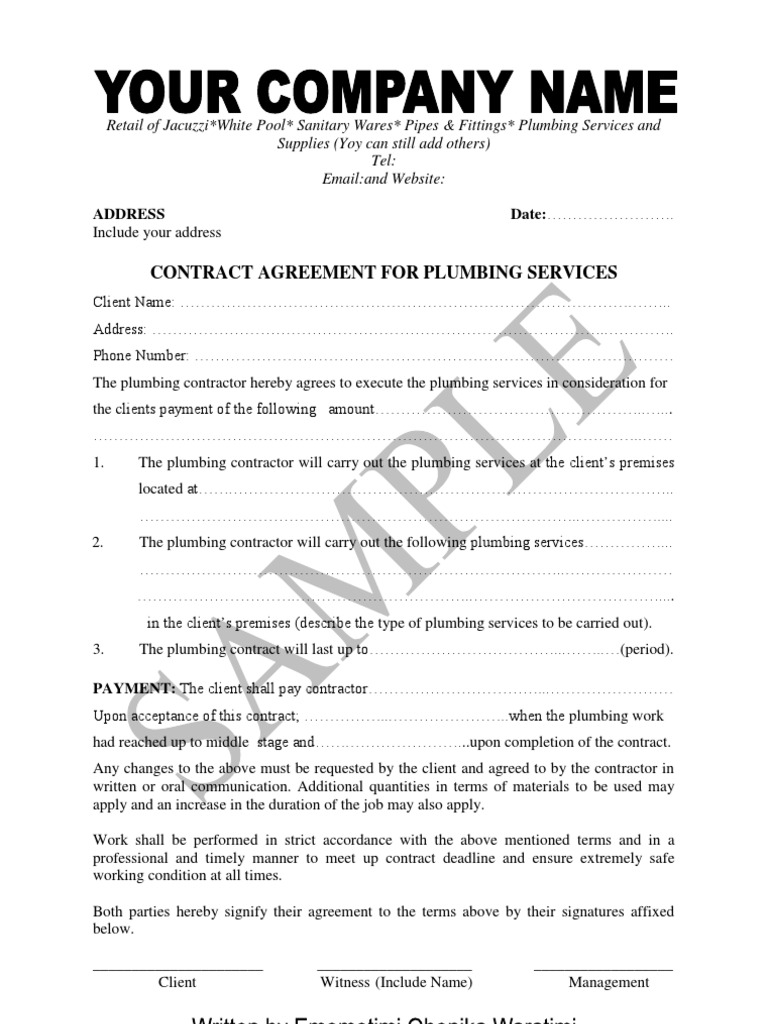 sample of plumbing contract and material supply agreement