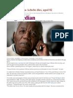 Novelist Chinua Achebe Dies, Aged 82
