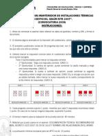 Examen 2009 y Plantilla de Respuestas - Instalaciones Termicas en Edificios (RITE-07)