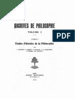 Aubron, L'union du sujet et de l'objet dans la connaissance chez Aristote, d'après Cajétan, 1923