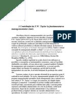 Contributia Lui F.W.taylor La Fundamentarea Managementului Clasic