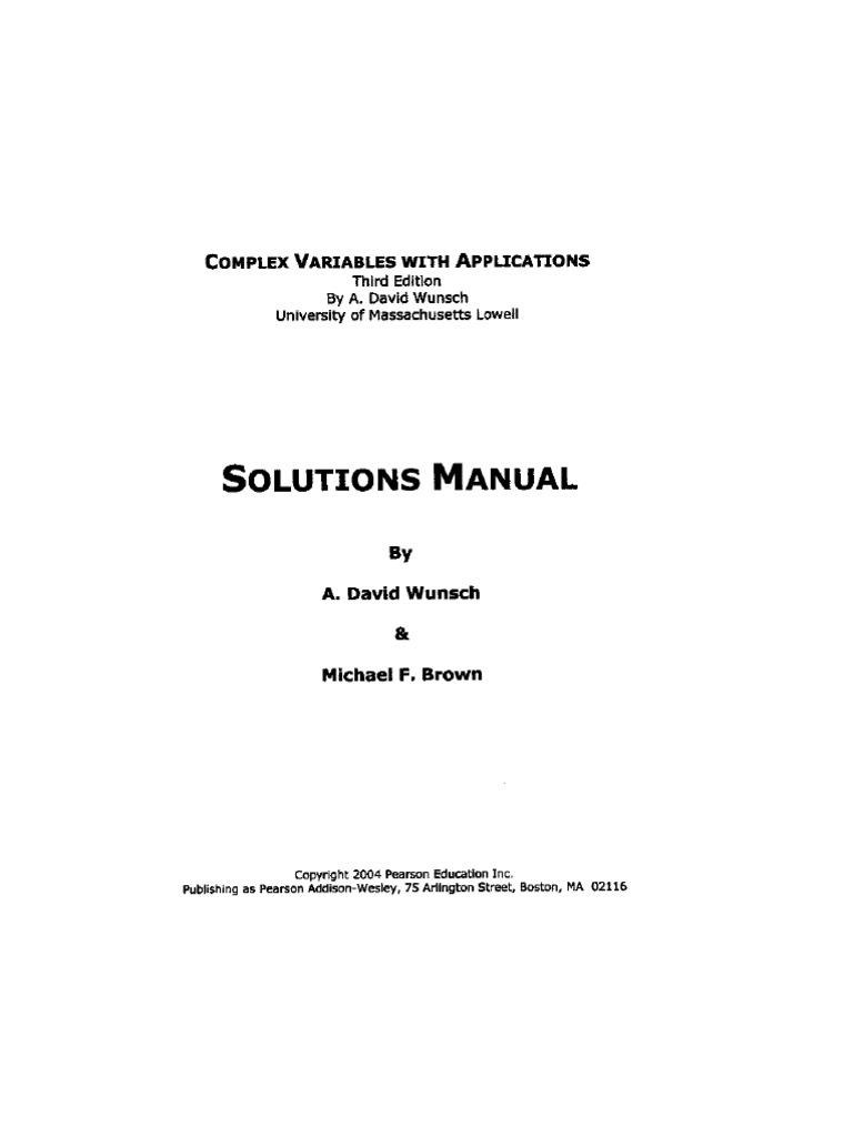 Wunsch, A. D., Brown, M. - Complex Variables With Applications, 3rd Edition  (Solutions Manual)[1]