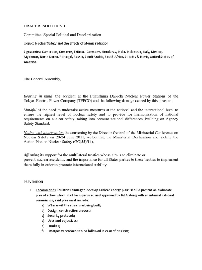 mun simultion draft resolution on nuclear safety international mun simultion draft resolution on nuclear safety international atomic energy agency