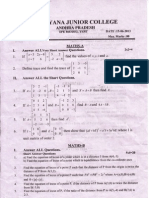 Narayana Junior College. Jr AIEEE & EAMCET IC. CDF Model Test.