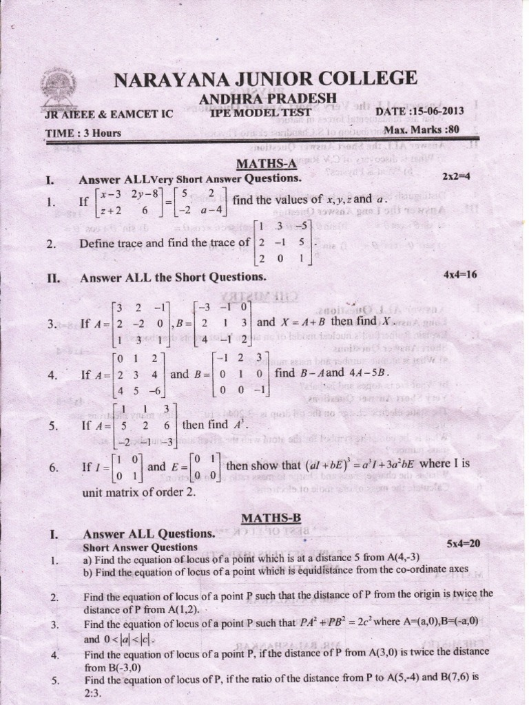 intermediate maths 1b model papers Ts inter 1st year model paper 2019 syllabus / telangana (ts) inter 1st year  exam sample paper 2019 / bie telangana inter 1st year guess.