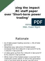 Analysis of CERC White paper over short-term trading BY Abhishek Mazumdar