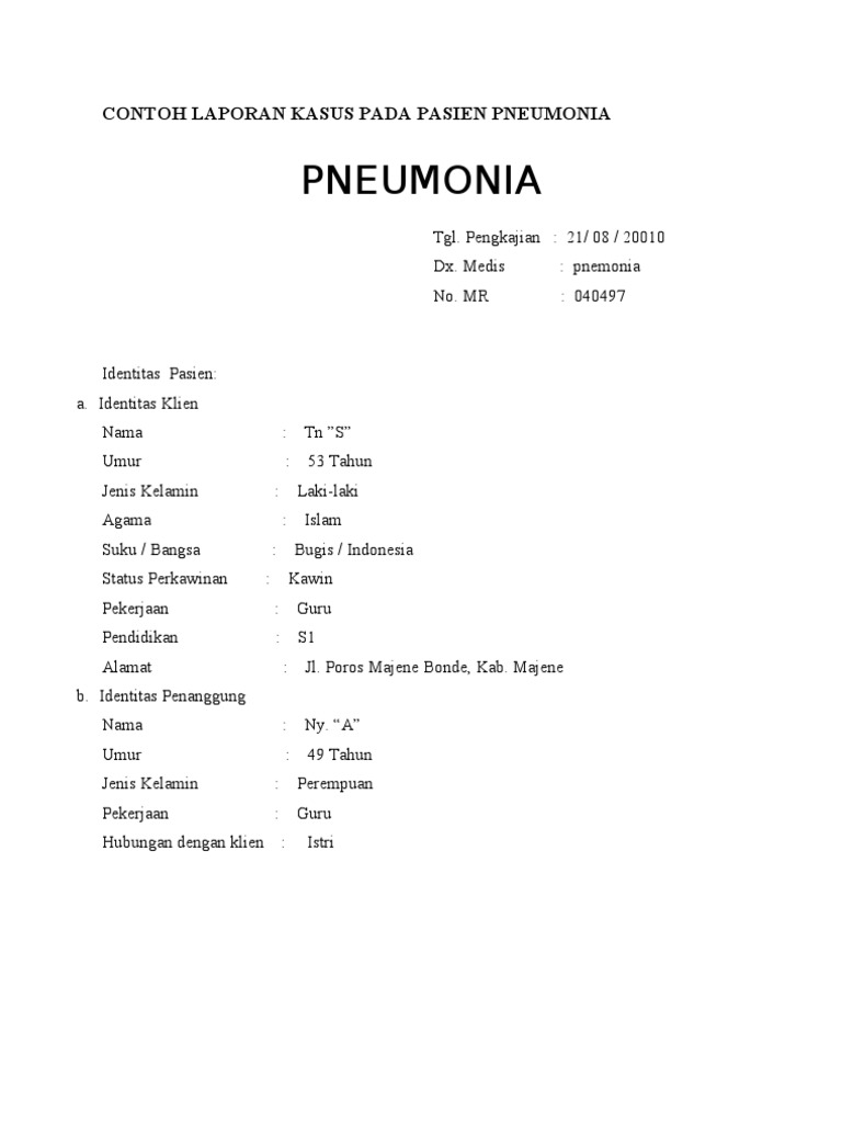 Contoh Kasus Askep Pneumonia Pada Anak Brad Erva Doce Info