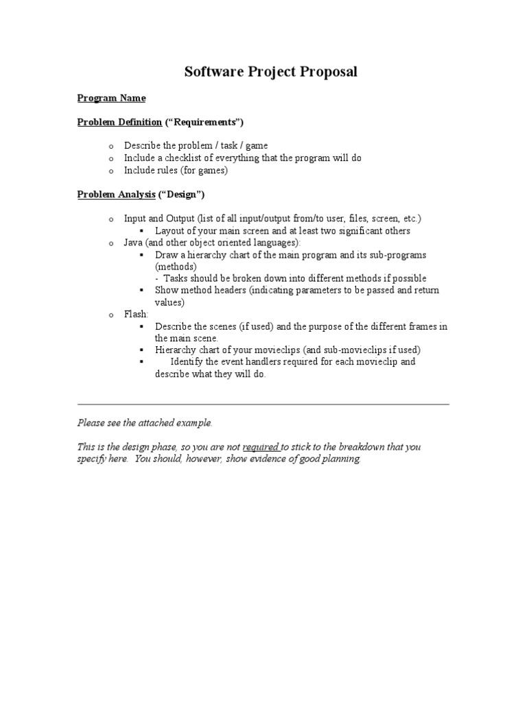 Software Project Proposal Parameter Computer Programming - Game proposal document example
